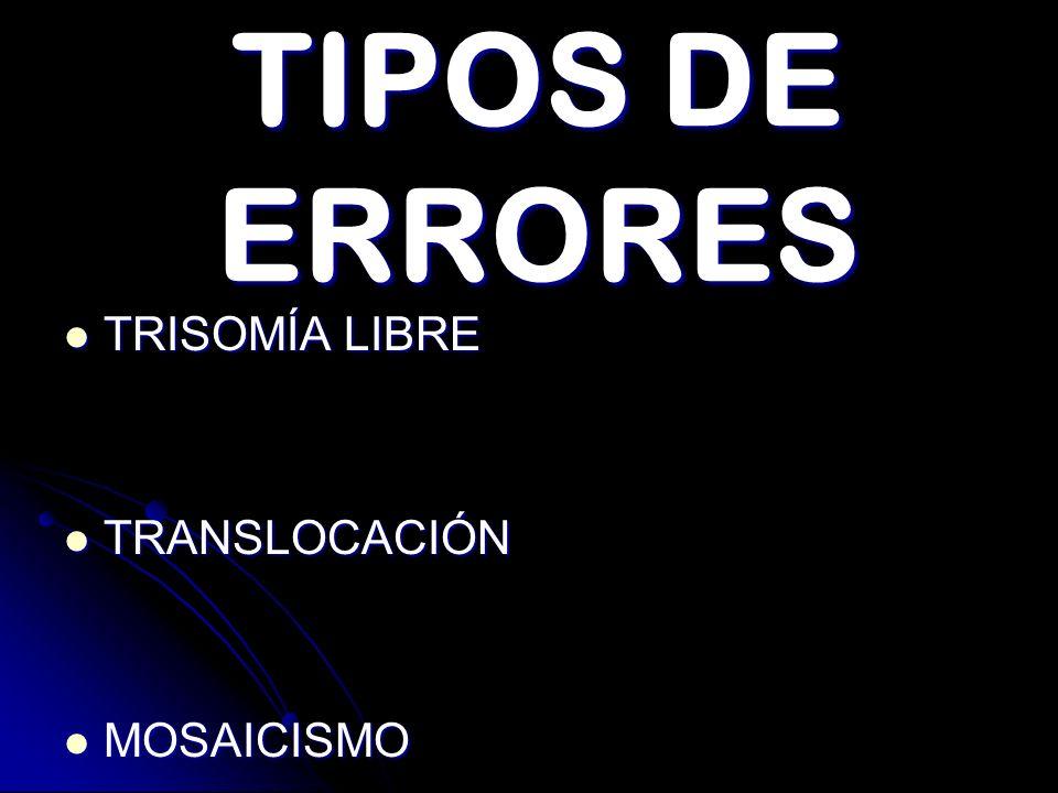 TIPOS DE ERRORES TRISOMÍA LIBRE TRISOMÍA LIBRE TRANSLOCACIÓN TRANSLOCACIÓN MOSAICISMO MOSAICISMO