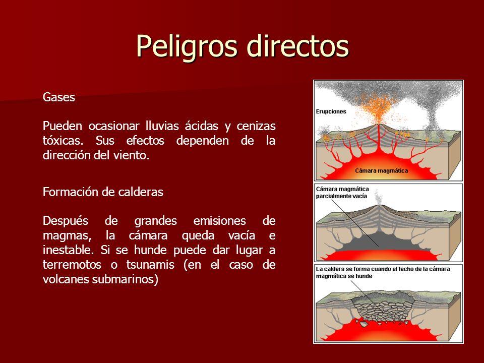 Peligros directos Gases Pueden ocasionar lluvias ácidas y cenizas tóxicas. Sus efectos dependen de la dirección del viento. Formación de calderas Desp