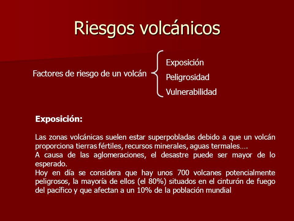Riesgos volcánicos Exposición: Las zonas volcánicas suelen estar superpobladas debido a que un volcán proporciona tierras fértiles, recursos minerales