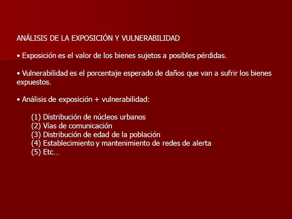 ANÁLISIS DE LA EXPOSICIÓN Y VULNERABILIDAD Exposición es el valor de los bienes sujetos a posibles pérdidas. Vulnerabilidad es el porcentaje esperado