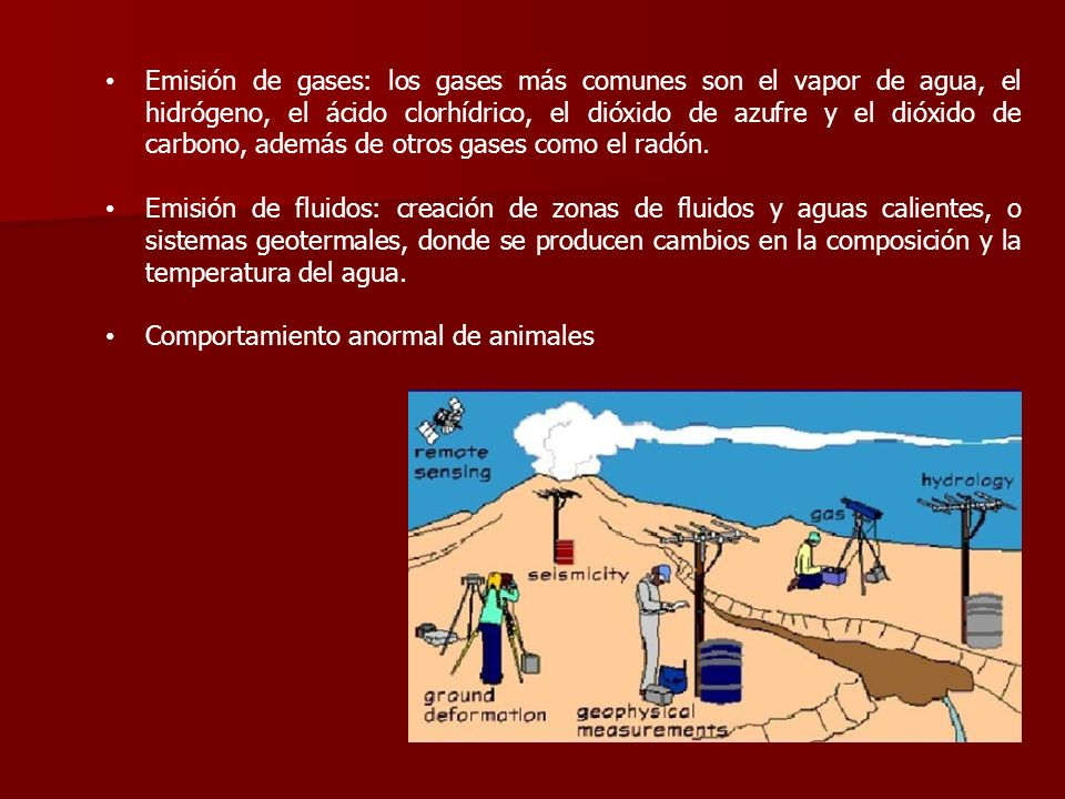 Emisión de gases: los gases más comunes son el vapor de agua, el hidrógeno, el ácido clorhídrico, el dióxido de azufre y el dióxido de carbono, además
