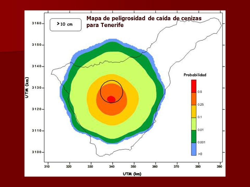 Mapa de peligrosidad de caída de cenizas para Tenerife