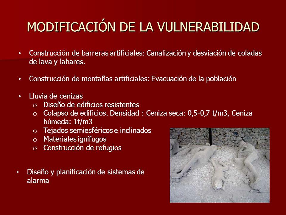 MODIFICACIÓN DE LA VULNERABILIDAD Construcción de barreras artificiales: Canalización y desviación de coladas de lava y lahares. Construcción de monta