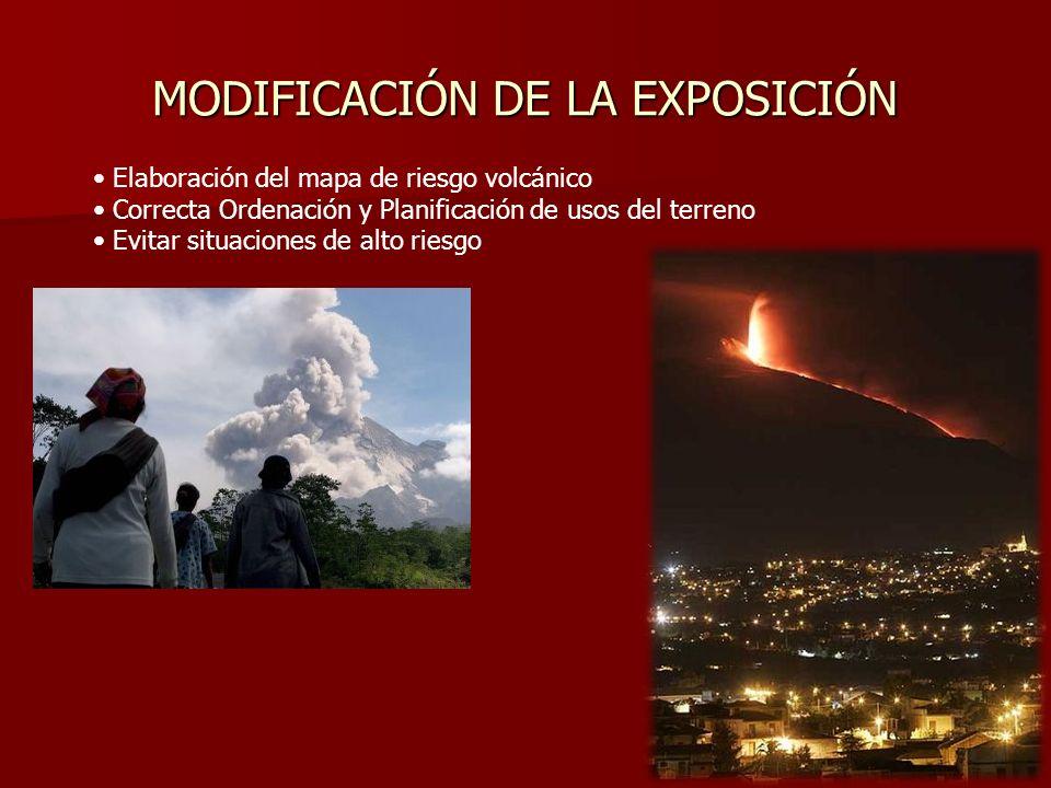 MODIFICACIÓN DE LA EXPOSICIÓN Elaboración del mapa de riesgo volcánico Correcta Ordenación y Planificación de usos del terreno Evitar situaciones de a