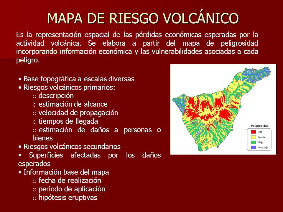 MAPA DE RIESGO VOLCÁNICO Es la representación espacial de las pérdidas económicas esperadas por la actividad volcánica. Se elabora a partir del mapa d