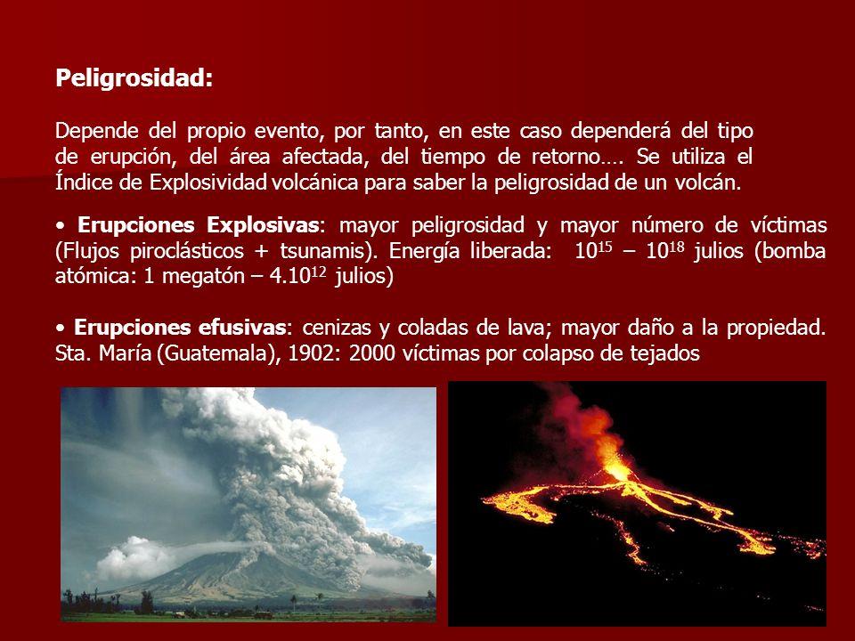 Peligrosidad: Depende del propio evento, por tanto, en este caso dependerá del tipo de erupción, del área afectada, del tiempo de retorno…. Se utiliza