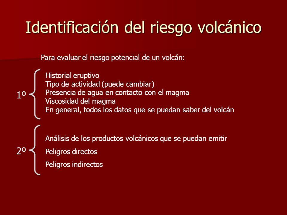 Identificación del riesgo volcánico Para evaluar el riesgo potencial de un volcán: Historial eruptivo Tipo de actividad (puede cambiar) Presencia de a