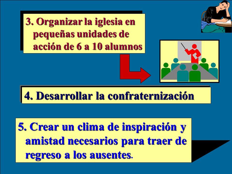 3.Organizar la iglesia en pequeñas unidades de acción de 6 a 10 alumnos 4.