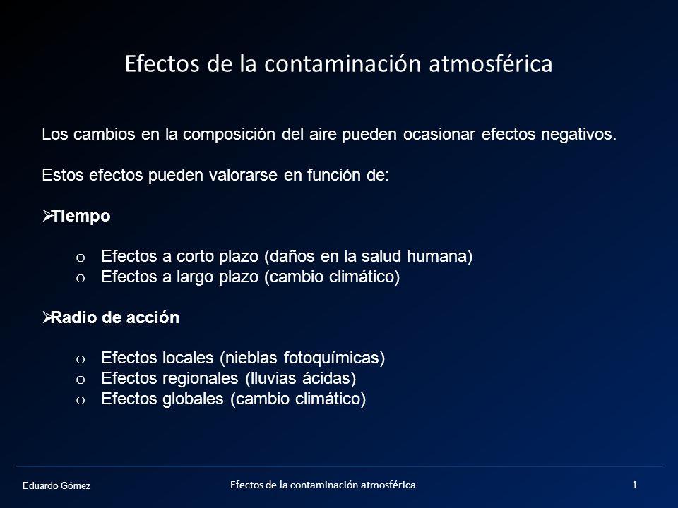 Eduardo Gómez Efectos de la contaminación atmosférica Los cambios en la composición del aire pueden ocasionar efectos negativos. Estos efectos pueden