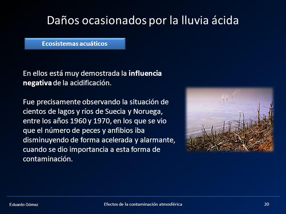 Eduardo Gómez Daños ocasionados por la lluvia ácida Ecosistemas acuáticos 20Efectos de la contaminación atmosférica En ellos está muy demostrada la in