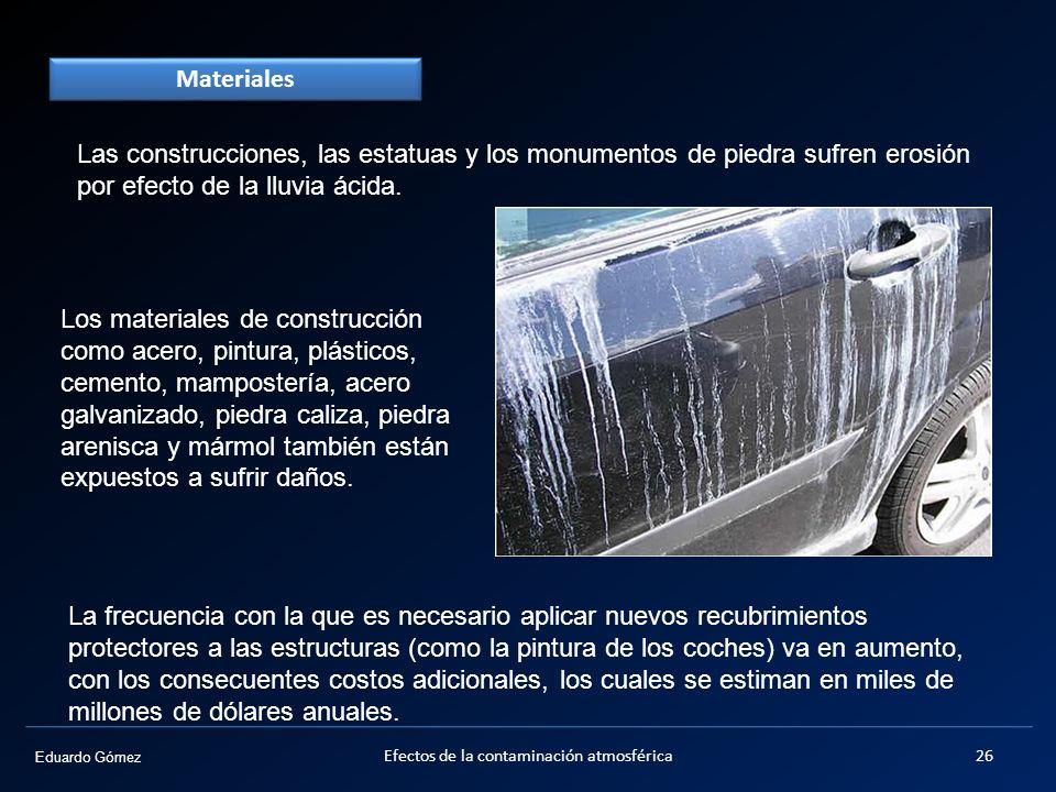 Eduardo Gómez Materiales Las construcciones, las estatuas y los monumentos de piedra sufren erosión por efecto de la lluvia ácida. Los materiales de c