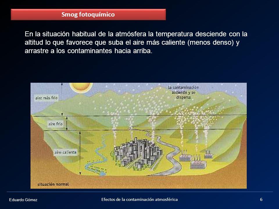 Eduardo Gómez En una situación de inversión térmica una capa de aire más cálido se sitúa sobre el aire superficial más frío e impide la ascensión de este último (más denso), por lo que la contaminación queda encerrada y va aumentando.