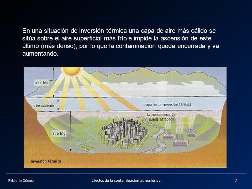 Eduardo Gómez En una situación de inversión térmica una capa de aire más cálido se sitúa sobre el aire superficial más frío e impide la ascensión de e