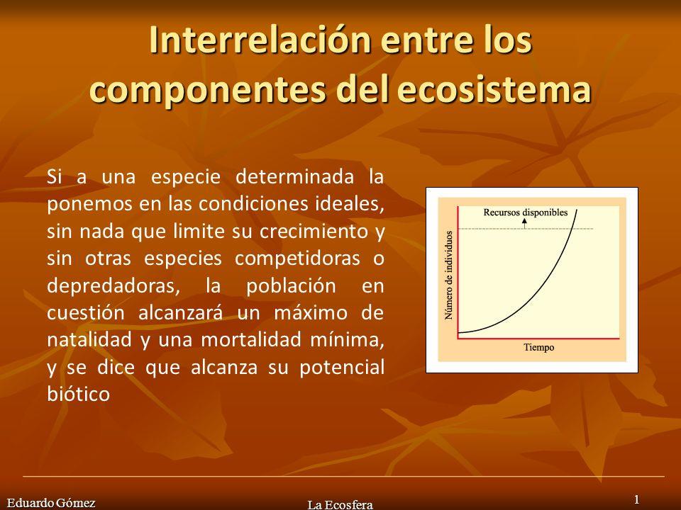 Eduardo Gómez La Ecosfera 2 Una población no puede crecer indefinidamente, ya que al cabo del tiempo empieza a haber limitaciones de recursos y espacio y aumenta el número de muertes.