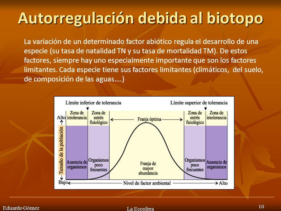 Autorregulación debida al biotopo Eduardo Gómez La Ecosfera 10 La variación de un determinado factor abiótico regula el desarrollo de una especie (su