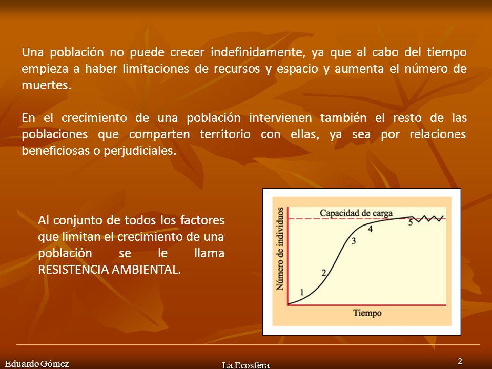 Eduardo Gómez La Ecosfera 3 Esta resistencia hace que tras un crecimiento inicial se alcance un estado estacionario llamado CAPACIDAD DE CARGA DEL ECOSISTEMA (K).