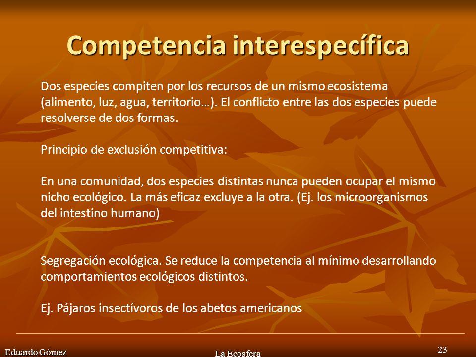 Competencia interespecífica Eduardo Gómez La Ecosfera 23 Dos especies compiten por los recursos de un mismo ecosistema (alimento, luz, agua, territori