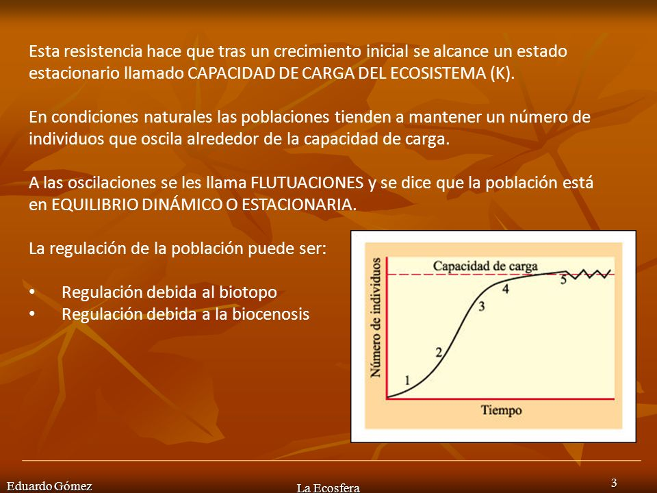 Eduardo Gómez La Ecosfera 3 Esta resistencia hace que tras un crecimiento inicial se alcance un estado estacionario llamado CAPACIDAD DE CARGA DEL ECO