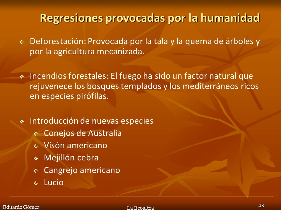 Eduardo Gómez La Ecosfera 43 Regresiones provocadas por la humanidad Deforestación: Provocada por la tala y la quema de árboles y por la agricultura m
