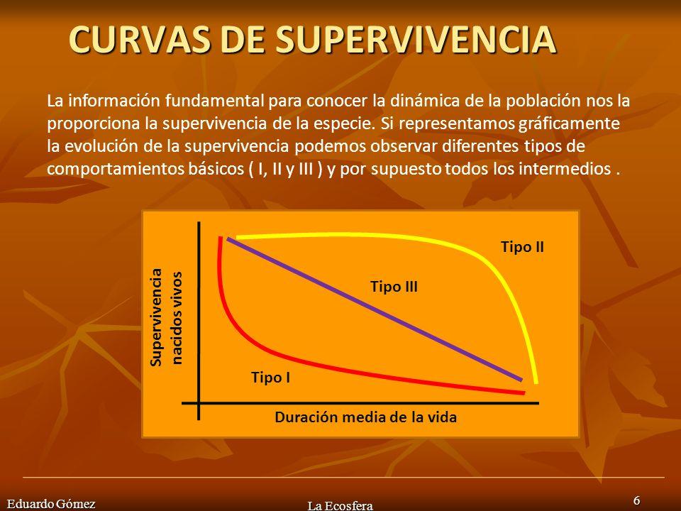 CURVAS DE SUPERVIVENCIA Eduardo Gómez La Ecosfera 6 La información fundamental para conocer la dinámica de la población nos la proporciona la superviv