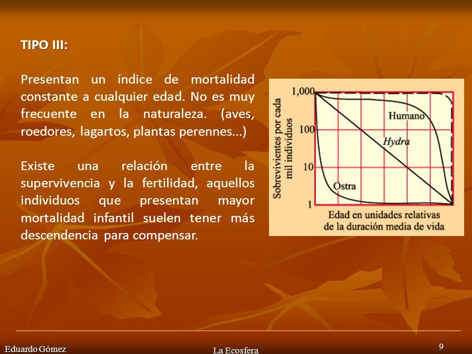 Eduardo Gómez La Ecosfera 9 TIPO III: Presentan un índice de mortalidad constante a cualquier edad. No es muy frecuente en la naturaleza. (aves, roedo