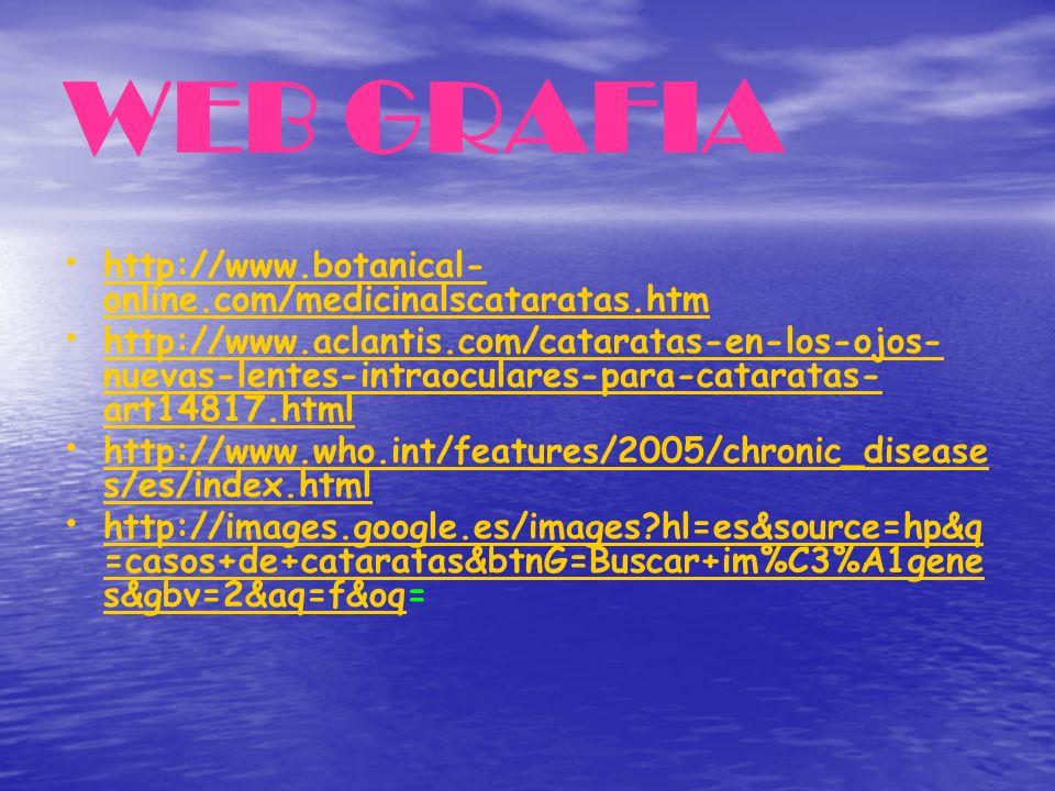 WEB GRAFIA http://www.botanical- online.com/medicinalscataratas.htm http://www.botanical- online.com/medicinalscataratas.htm http://www.aclantis.com/c