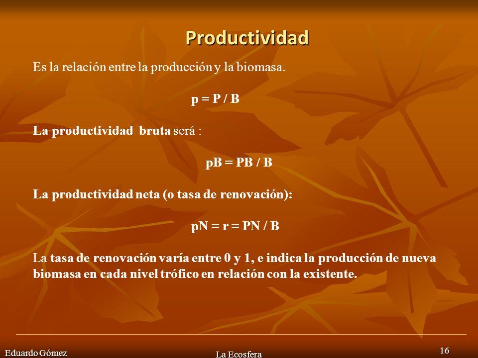Productividad Eduardo Gómez La Ecosfera 16 Es la relación entre la producción y la biomasa. p = P / B La productividad bruta será : pB = PB / B La pro