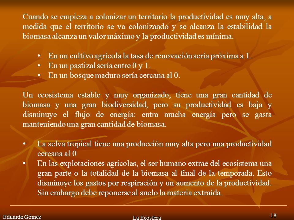 Eduardo Gómez La Ecosfera 18 Cuando se empieza a colonizar un territorio la productividad es muy alta, a medida que el territorio se va colonizando y