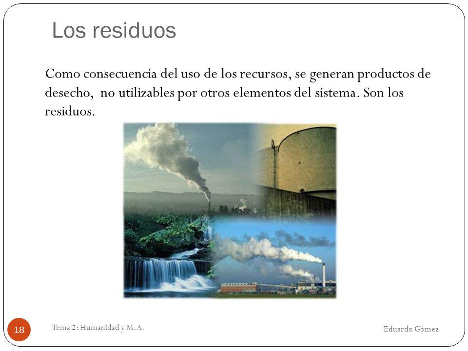 Los residuos Eduardo Gómez Tema 2: Humanidad y M.A. 18 Como consecuencia del uso de los recursos, se generan productos de desecho, no utilizables por