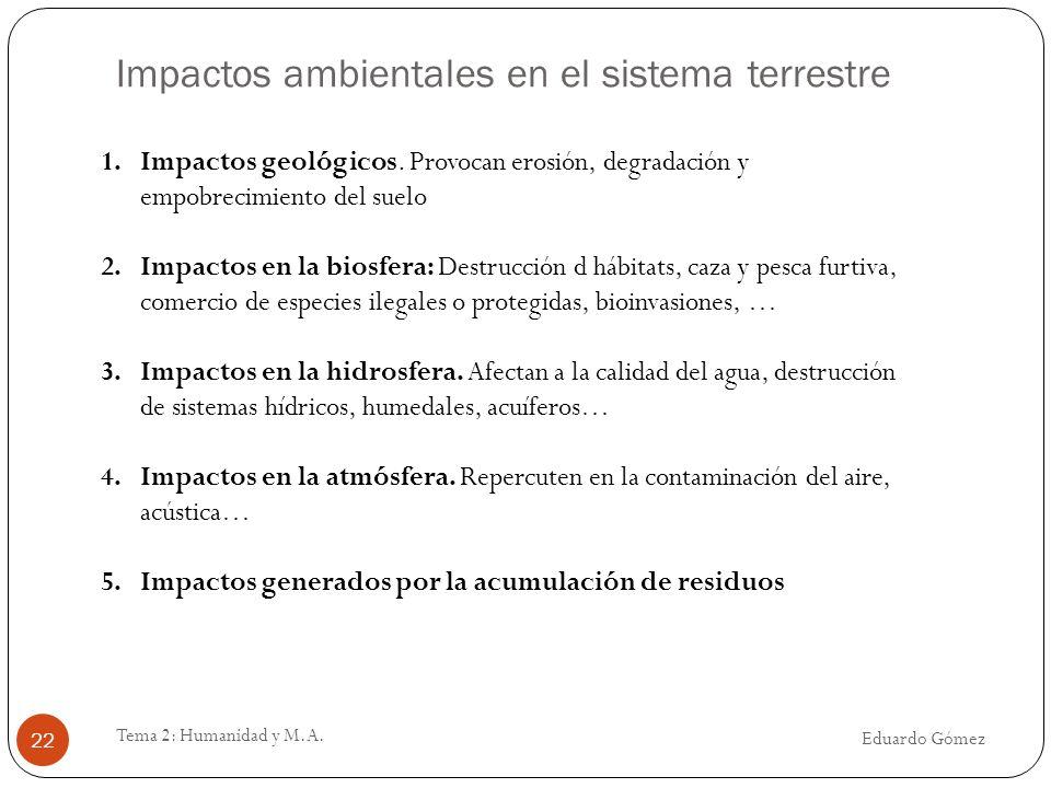 Impactos ambientales en el sistema terrestre Eduardo Gómez Tema 2: Humanidad y M.A. 22 1.Impactos geológicos. Provocan erosión, degradación y empobrec