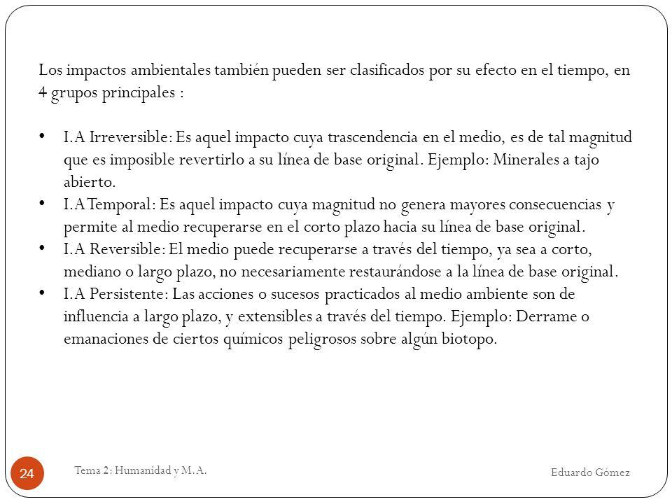 Eduardo Gómez Tema 2: Humanidad y M.A. 24 Los impactos ambientales también pueden ser clasificados por su efecto en el tiempo, en 4 grupos principales