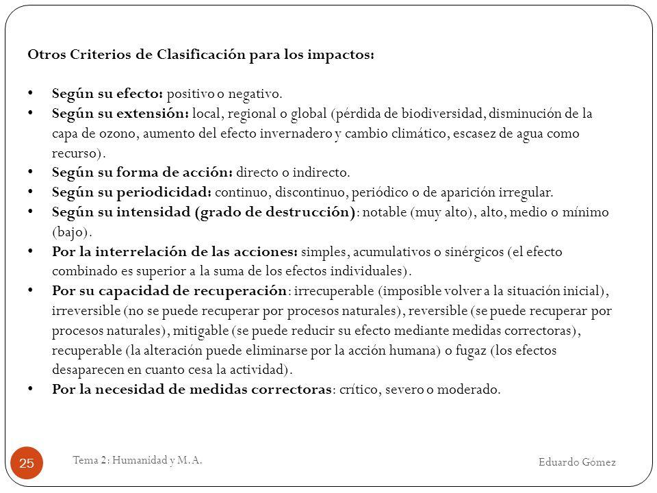 Eduardo Gómez Tema 2: Humanidad y M.A. 25 Otros Criterios de Clasificación para los impactos: Según su efecto: positivo o negativo. Según su extensión