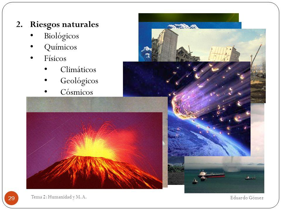 Eduardo Gómez Tema 2: Humanidad y M.A. 29 2.Riesgos naturales Biológicos Químicos Físicos Climáticos Geológicos Cósmicos
