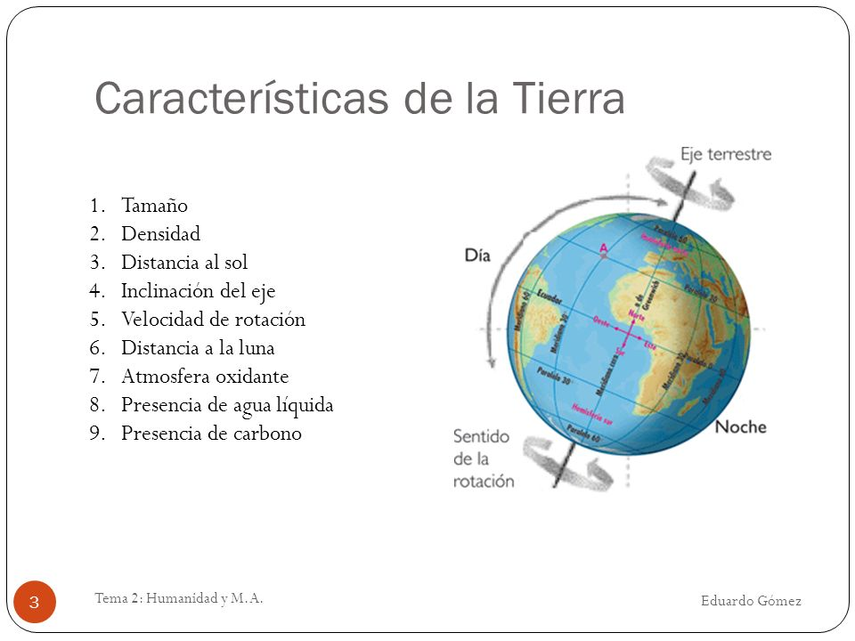 Características de la Tierra Eduardo Gómez Tema 2: Humanidad y M.A. 3 1.Tamaño 2.Densidad 3.Distancia al sol 4.Inclinación del eje 5.Velocidad de rota