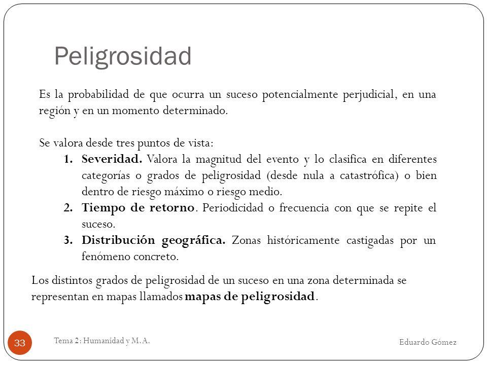 Peligrosidad Eduardo Gómez Tema 2: Humanidad y M.A. 33 Es la probabilidad de que ocurra un suceso potencialmente perjudicial, en una región y en un mo
