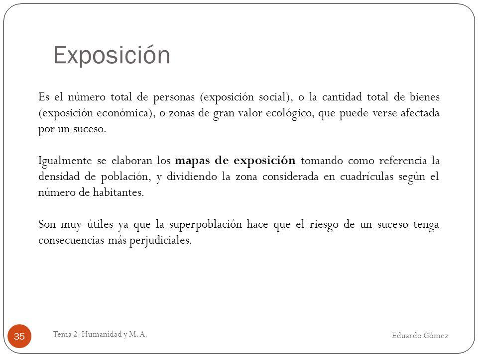 Exposición Eduardo Gómez Tema 2: Humanidad y M.A. 35 Es el número total de personas (exposición social), o la cantidad total de bienes (exposición eco
