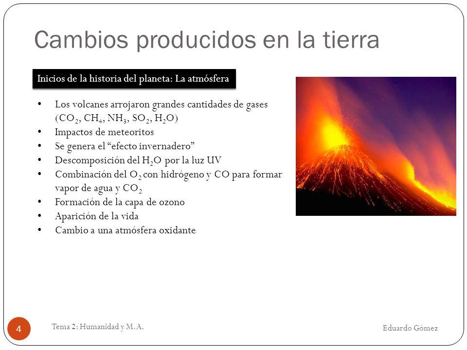Cambios producidos en la tierra Eduardo Gómez Tema 2: Humanidad y M.A. 4 Inicios de la historia del planeta: La atmósfera Los volcanes arrojaron grand