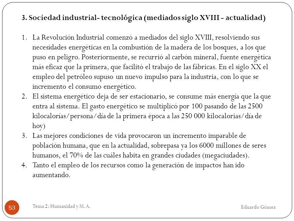 Eduardo Gómez Tema 2: Humanidad y M.A. 53 3. Sociedad industrial- tecnológica (mediados siglo XVIII - actualidad) 1.La Revolución Industrial comenzó a
