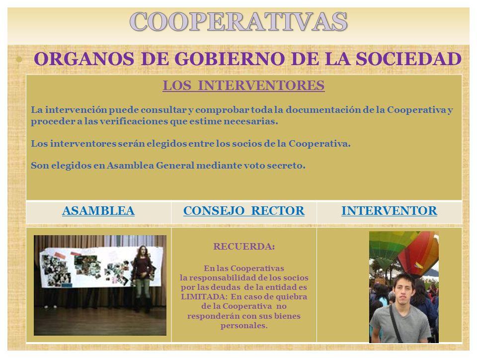 ORGANOS DE GOBIERNO DE LA SOCIEDAD SOCIOS: RECUERDA: En las Cooperativas la responsabilidad de los socios por las deudas de la entidad es LIMITADA: En
