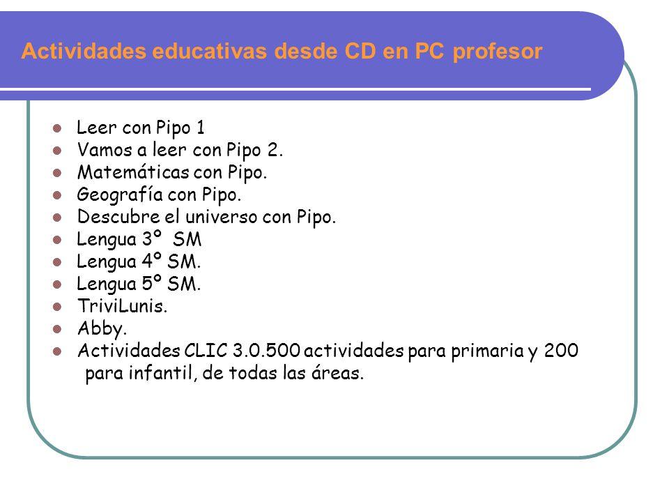 Actividades educativas desde CD en PC profesor Leer con Pipo 1 Vamos a leer con Pipo 2. Matemáticas con Pipo. Geografía con Pipo. Descubre el universo