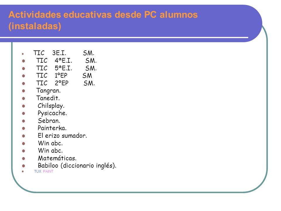 Actividades educativas desde PC alumnos (instaladas) TIC 3E.I. SM. TIC 4ªE.I. SM. TIC 5ªE.I. SM. TIC 1ºEP SM TIC 2ºEP SM. Tangran. Tanedit. Chilsplay.