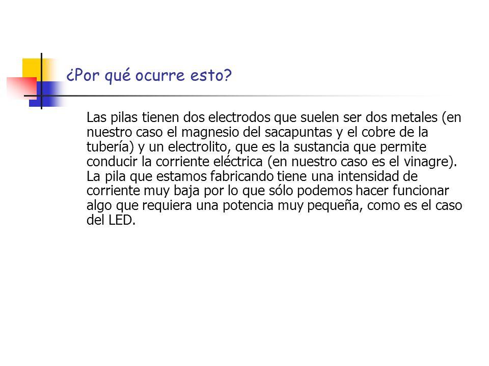 ¿Por qué ocurre esto? Las pilas tienen dos electrodos que suelen ser dos metales (en nuestro caso el magnesio del sacapuntas y el cobre de la tubería)