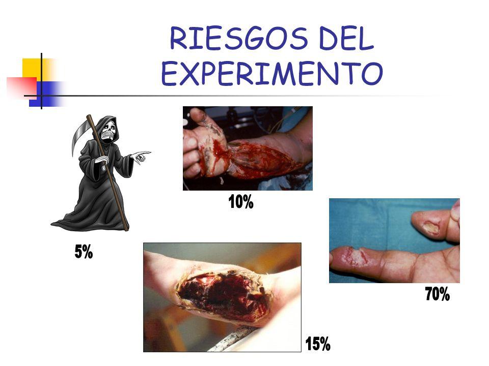 RIESGOS DEL EXPERIMENTO EL 5% MUEREN