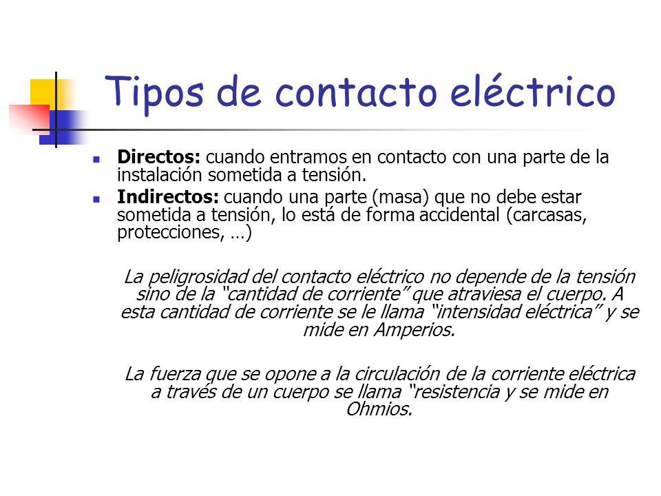 Tipos de contacto eléctrico Directos: cuando entramos en contacto con una parte de la instalación sometida a tensión. Indirectos: cuando una parte (ma