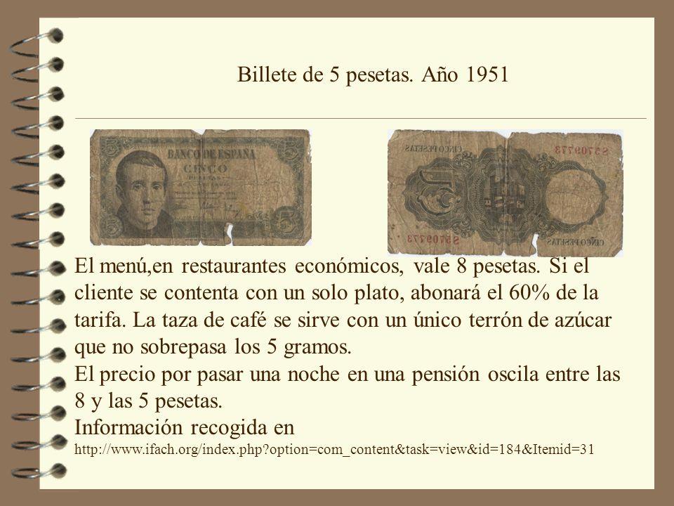 Billete de 5 pesetas. Año 1951 El menú,en restaurantes económicos, vale 8 pesetas. Si el cliente se contenta con un solo plato, abonará el 60% de la t