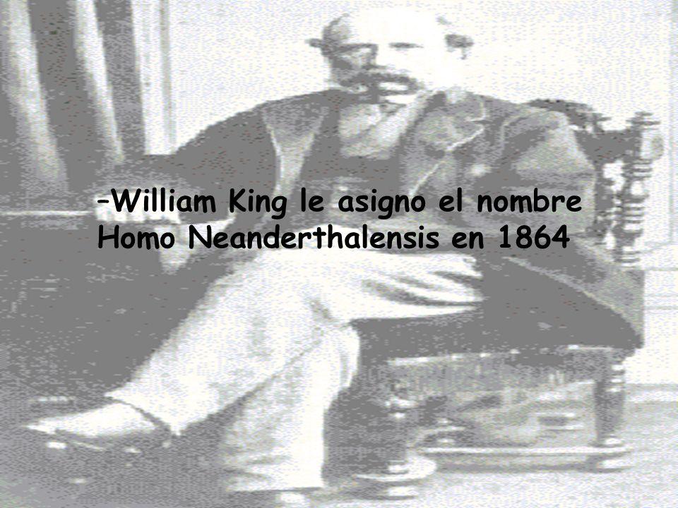–William King le asigno el nombre Homo Neanderthalensis en 1864