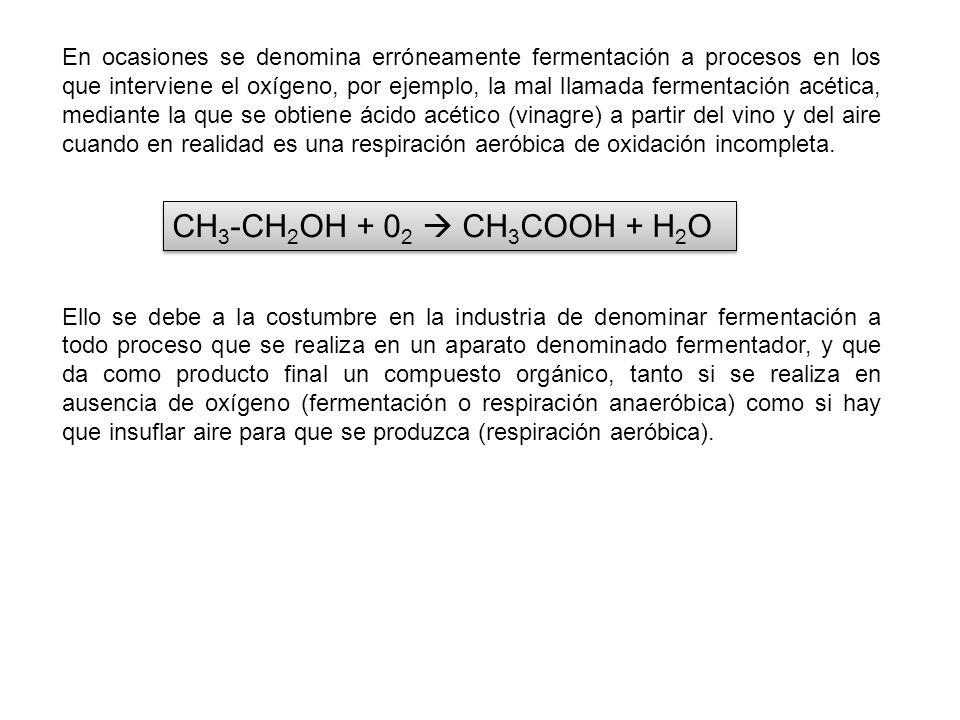 En ocasiones se denomina erróneamente fermentación a procesos en los que interviene el oxígeno, por ejemplo, la mal llamada fermentación acética, medi