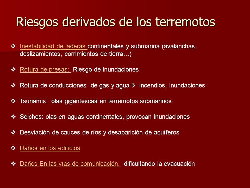 Riesgos derivados de los terremotos Inestabilidad de laderas continentales y submarina (avalanchas, deslizamientos, corrimientos de tierra…) Inestabil