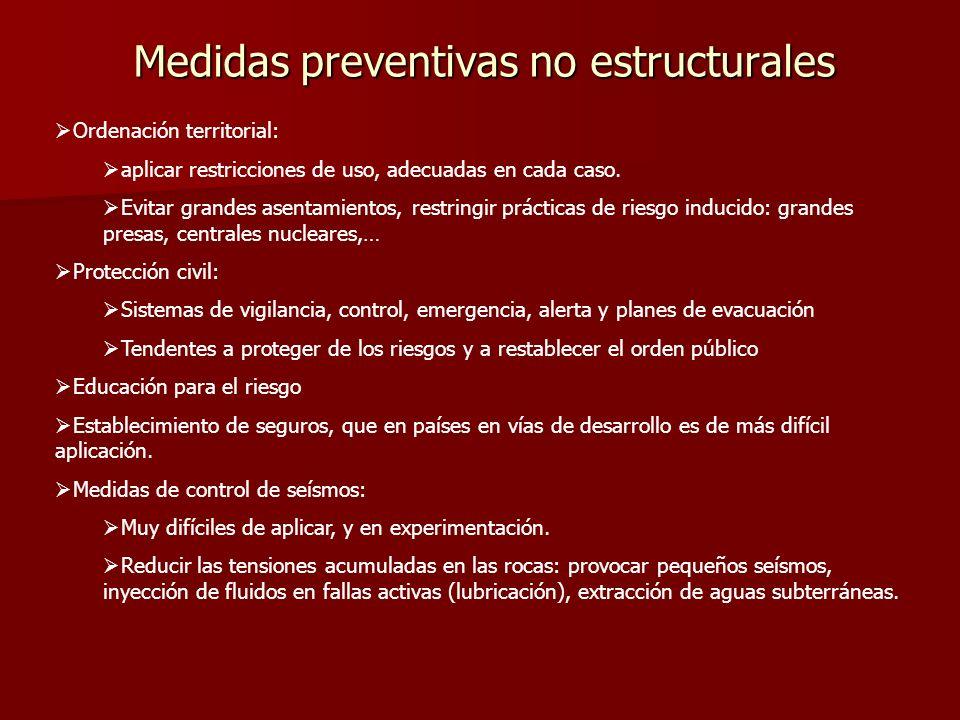 Medidas preventivas no estructurales Ordenación territorial: aplicar restricciones de uso, adecuadas en cada caso. Evitar grandes asentamientos, restr