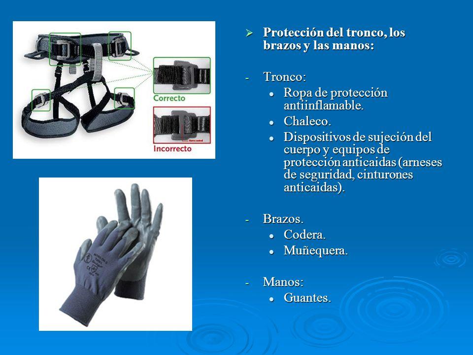 Protección del tronco, los brazos y las manos: Protección del tronco, los brazos y las manos: - Tronco: Ropa de protección antiinflamable. Chaleco. Di